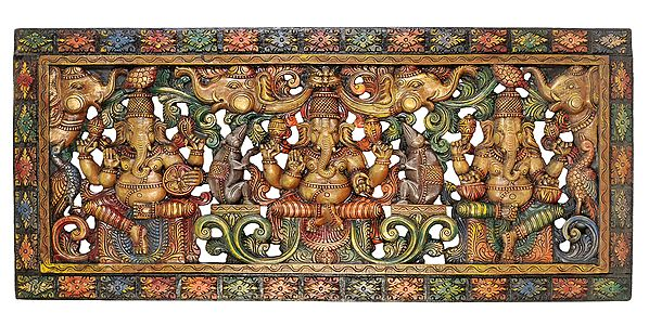 Triple Ganesha Panel with Lattice