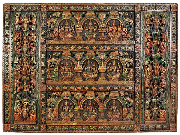 A Large Size Panel of  Vishnu-Lakshmi with Ashtalakshmi and the Border of Dashavatara (Ten Incarnations of Vishnu)
