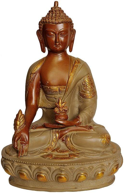 The Medicine Buddha Seated on Lotus Pedestal (Tibetan Buddhist Deity)