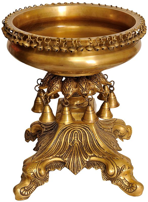 Urli Bowl with Hanging Bells and Ghungroos