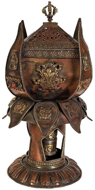 Lotus Shaped Ashtamangala Incense Burner with Prayer Wheel