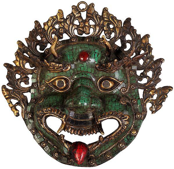 Mahakala Wall Hanging Mask with Inlay