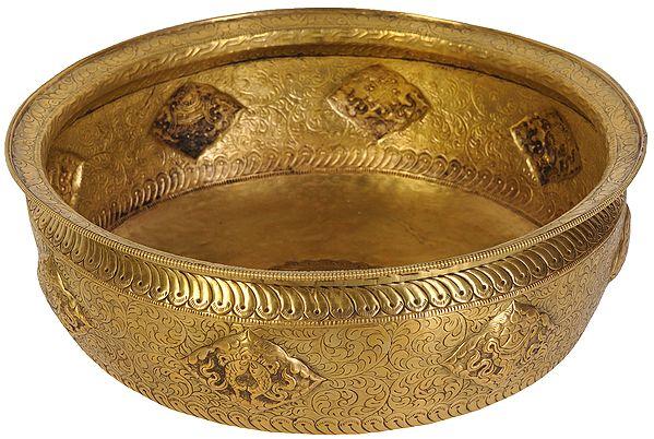 Large Size Ritual Bowl with Ashtamangala Symbols  and Vishva Vajra Figure
