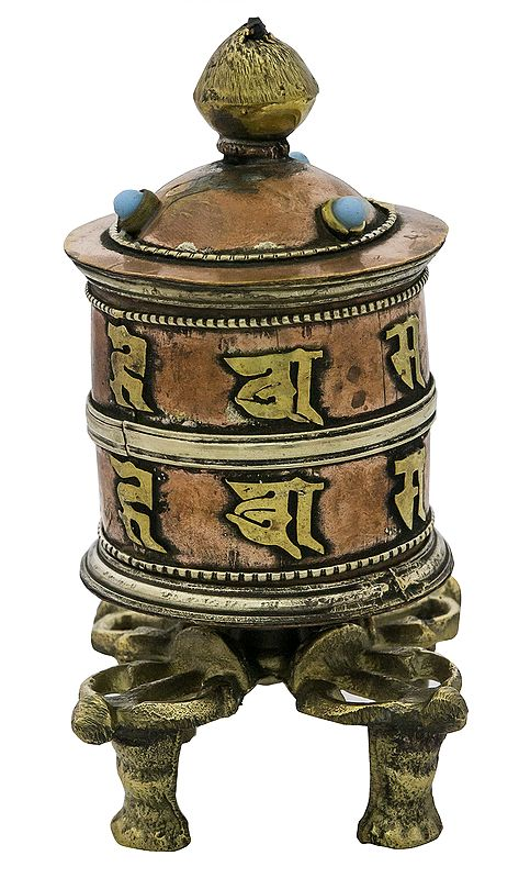 Prayer Wheel with Double Dorje Stand