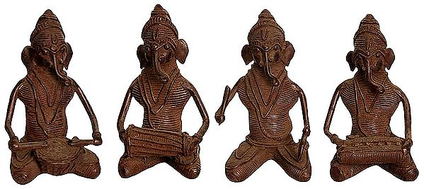 Set of Four Musical Ganeshas (Tribal  Statues from Bastar)