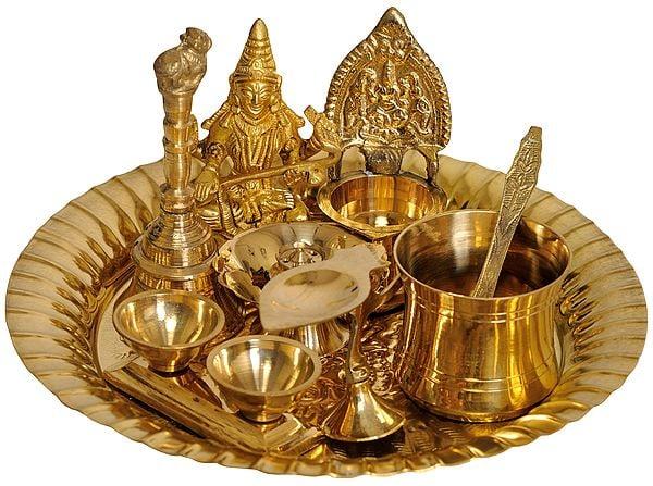 Saraswati ji Puja Thali with Lakshmi Ji Diya