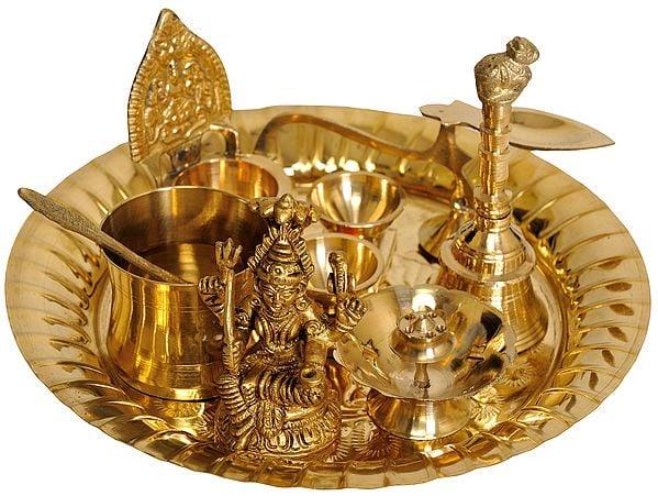 Lord Shiva Puja Thali with Lakshmi Ji Diya
