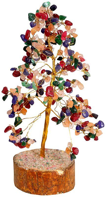 Multi-Colour Gemstone Money Tree for Vastu and Feng Shui