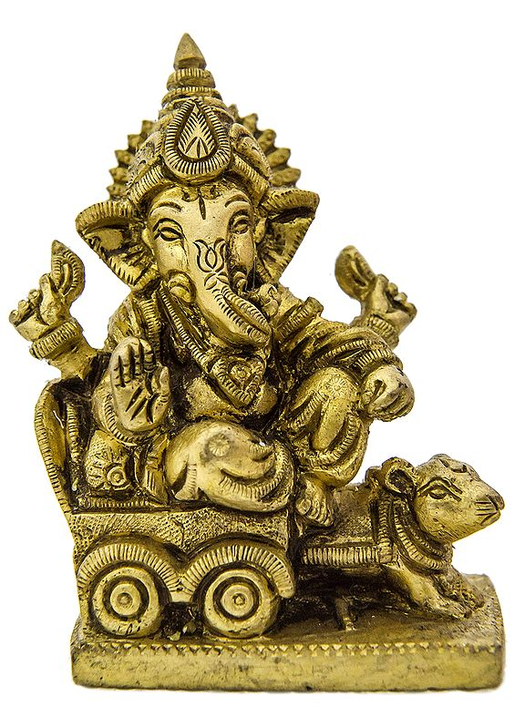 Lord Ganesha Riding a Mouse Chariot