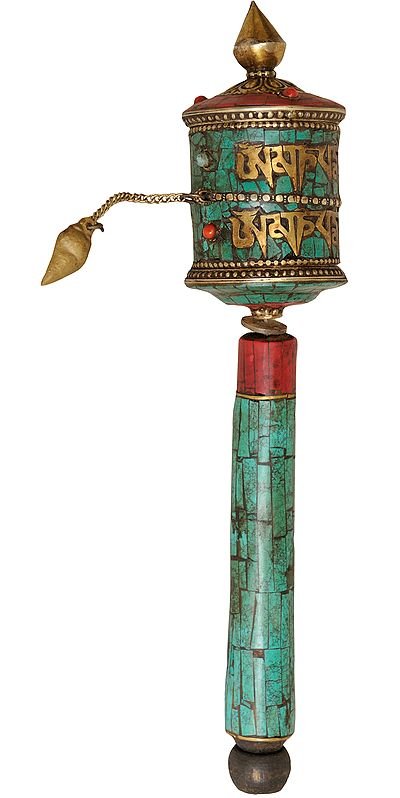 Tibetan Buddhist Prayer Wheel with the Syllable Om Mani Padme Hum