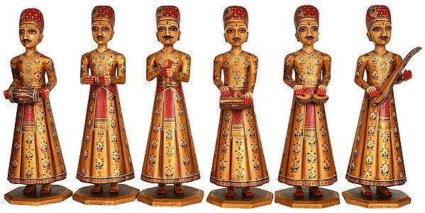 Group of Rajasthani Musician Men (Set of Six Statues)