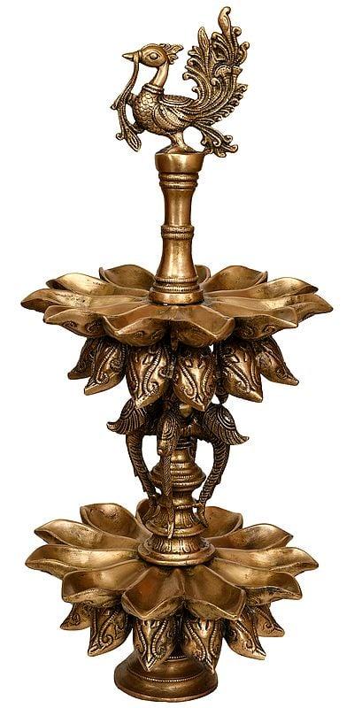 Peacock Lamp (Twenty Two Wicks )