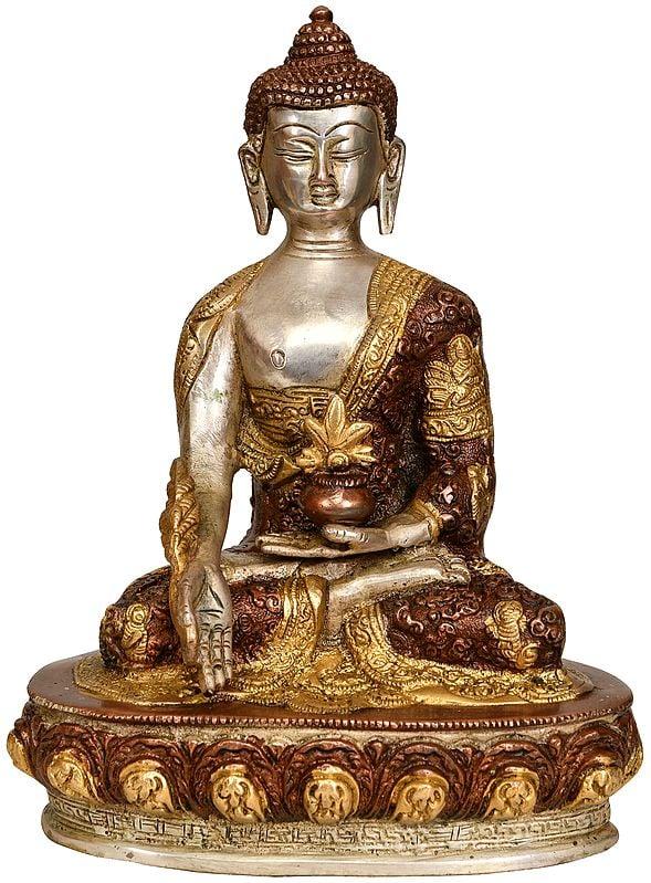 Medicine Buddha with Life Scenes on Reverse