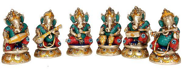 Musician Ganesha with Choti (Set of Six)