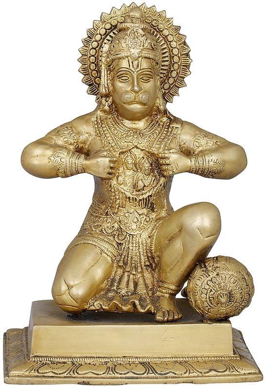 Hanuman Ji Tearing His Chest to Reveal Rama and Sita