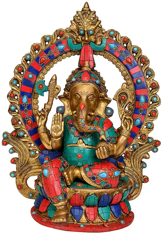 Blessing Lord Ganesha Seated on Lotus with Aureole and Kirtimukha