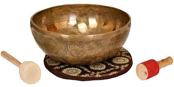 Superfine Hand Hammered Tibetan Buddhist Ritual Singing Bowl with Image of White Tara Inside