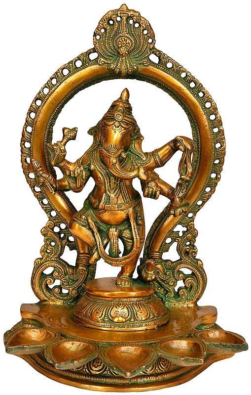 Dancing Ganesha Five Wick Lamp