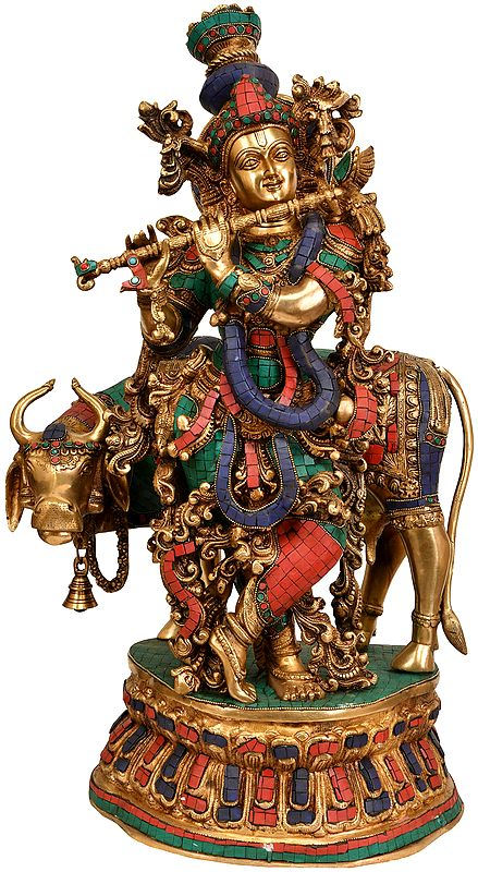 Large Size Fluting Krishna with His Cow