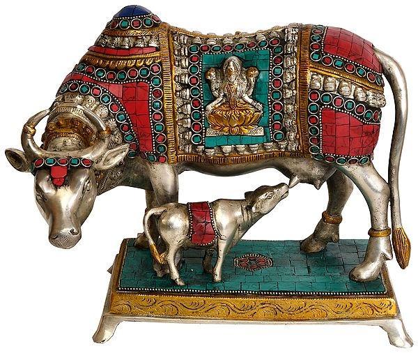 Inlay Cow and Calf (Over-Cloth Decorated with Lakshmi and ganesha)