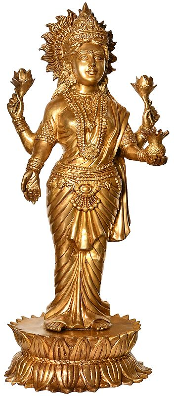 Goddess Lakshmi Standing on Lotus Pedestal (Large Size)