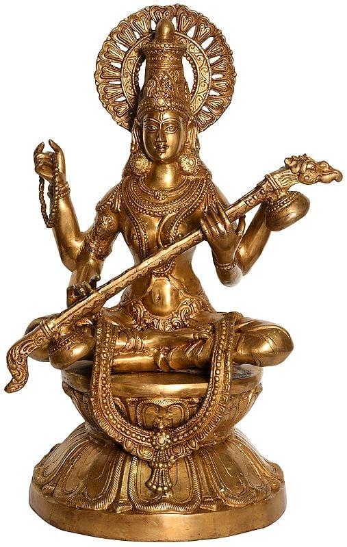 Large Size Goddess Saraswati Seated on Lotus