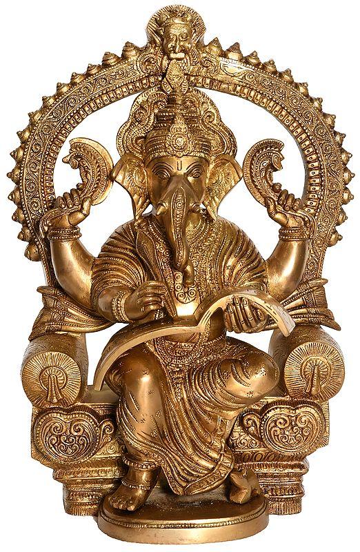 Lord Ganesha Writing the Mahabharata