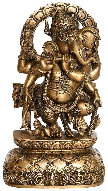 Lord Ganesha Playing Flute