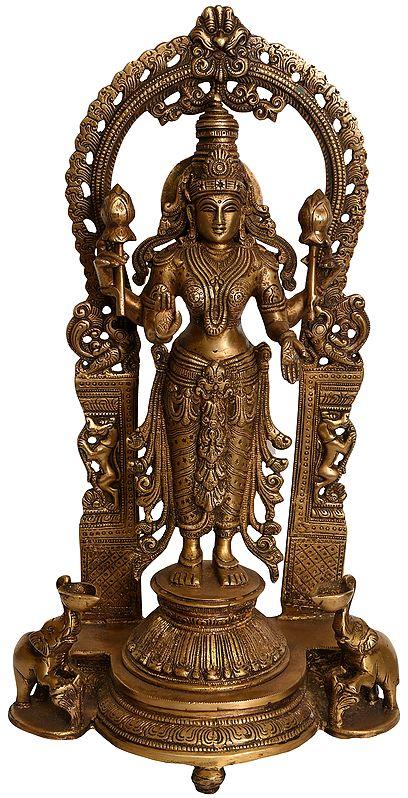 Goddess Lakshmi Standing on Lotus Pedestal with Elephant Diyas