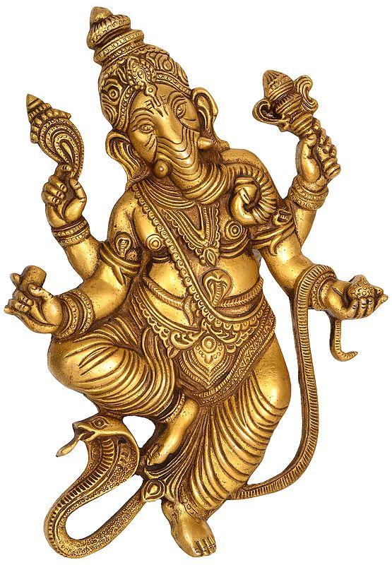 Serpent Ganesha Wall Hanging (Flat Statue)