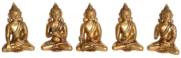 Set of Five Dhyani Buddhas (Tibetan Buddhist Deities)