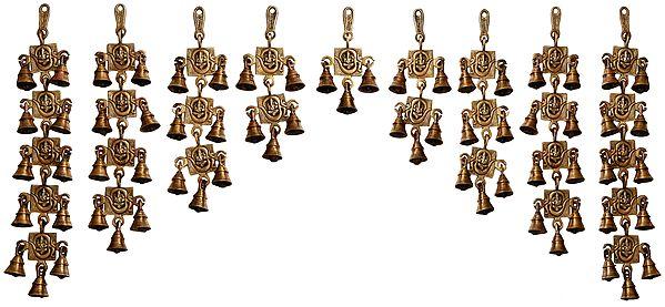 OM (AUM) Ganesha Wall Hanging Toran (Set of Nine)