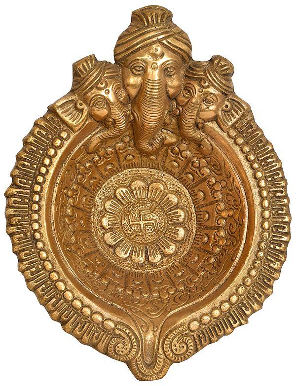 Tri-Mukha Ganesha Big Puja Diya