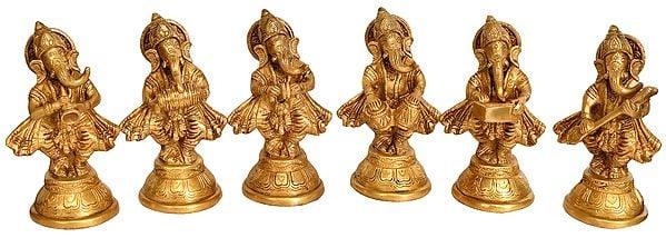 Musician Ganesha (Set of Six Statues)