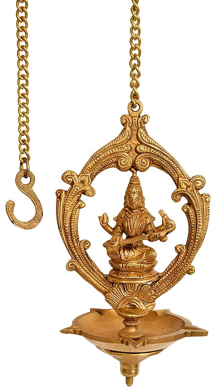 Five Wick Saraswati Ceiling Puja Lamp