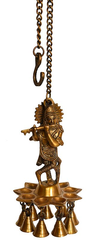 Lord Krishna Roof Hanging Wick Lamp with Bells