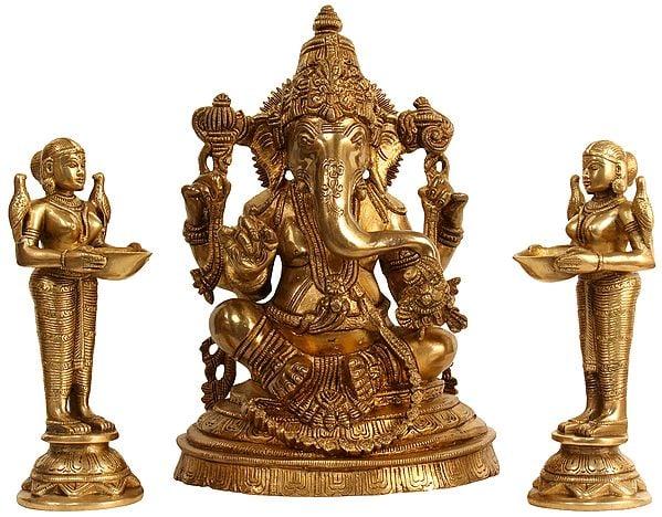 Lord Ganesha with Deeplakshmi Pair (Set of Three Statues)