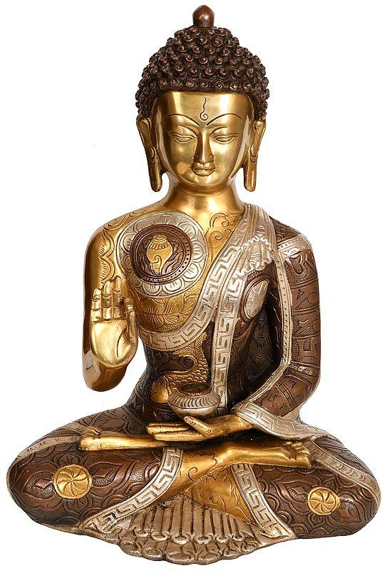 Tibetan Buddhist Preaching Buddha: Robe Decorated with Auspicious Symbols and Mantras