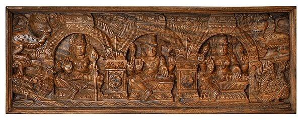 Lord Shiva Panel with Karttikeya and Goddess Parvati