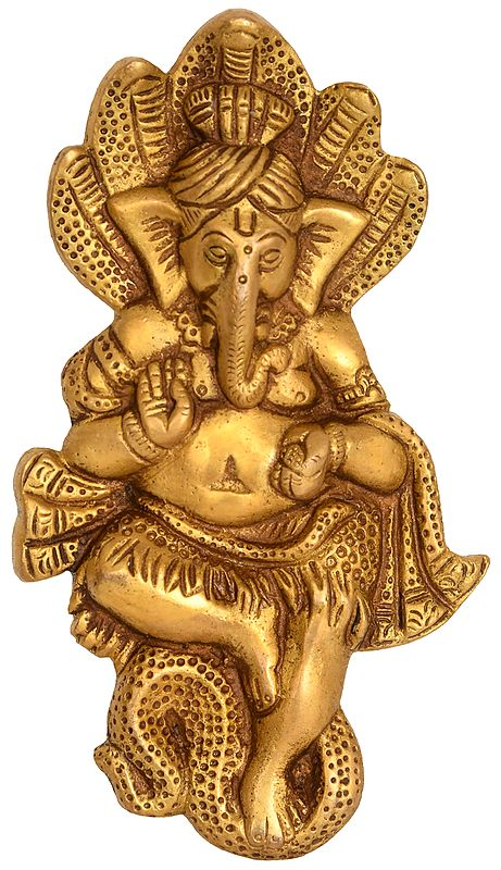 Beturbaned Ganesha Seated On A Serpent