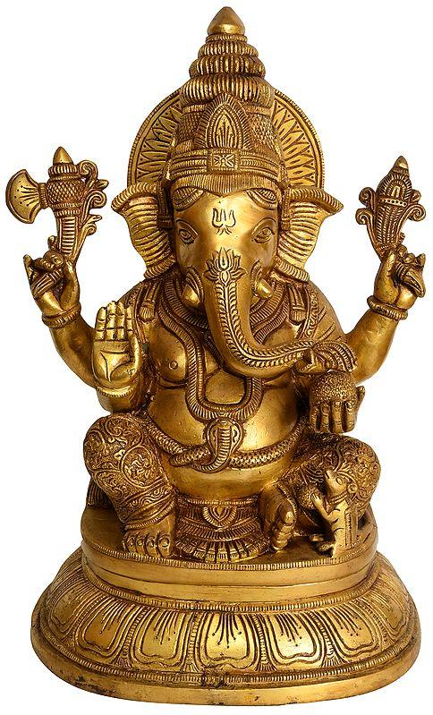 Blessing Ganesha Seated in Maharaja Lila Asana