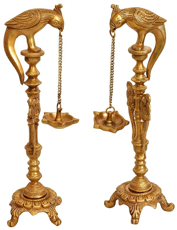 Pair of Five-Wick Parrot Hanging Lamp with Stand