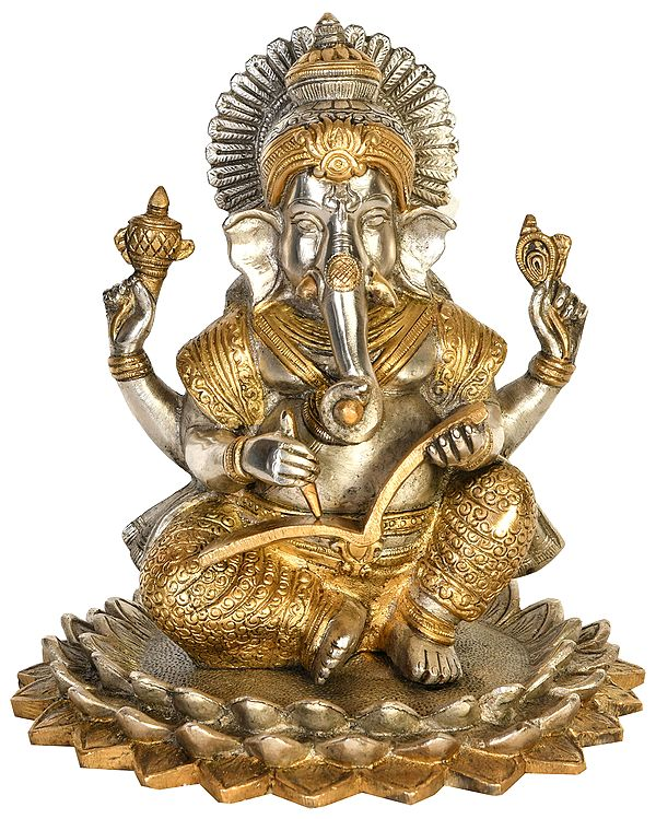 Lord Ganesha Seated on Blooming Lotus Scripting The Mahabharata