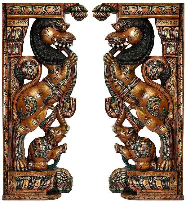 Traditional Yali Temple Pillars