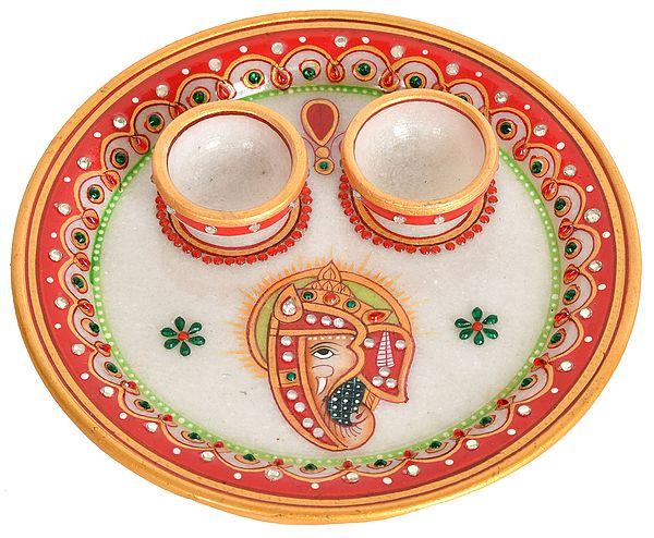 Marble Puja Plate with Two Attached Bowls