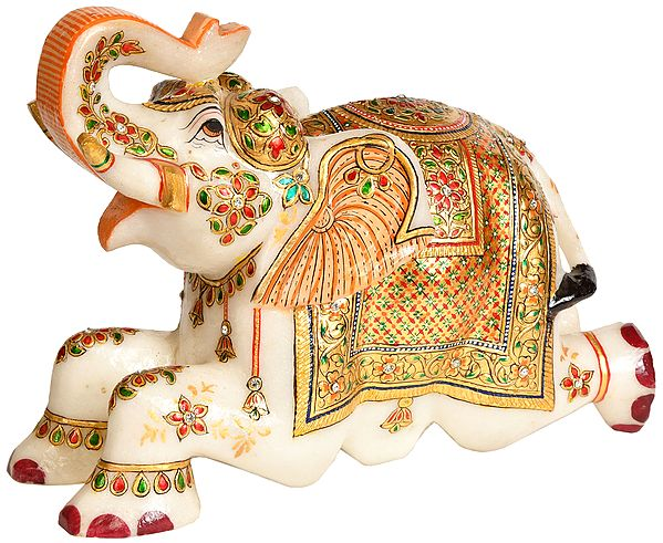 Royal White Elephant with Upraised Trunk
