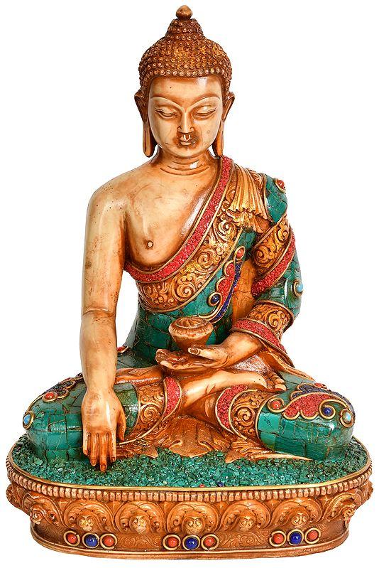 Meditating Lord Buddha in Bhumi-Sparsha Mudra - Tibetan Buddhist (Made in Nepal)