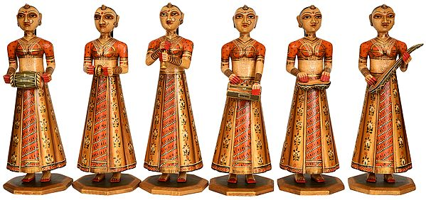 Group of Rajasthani Musician Ladies (Set of Six Statues)