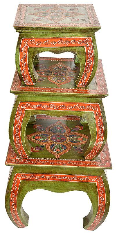 Decorated Ritual Chowkis (Set of Three)