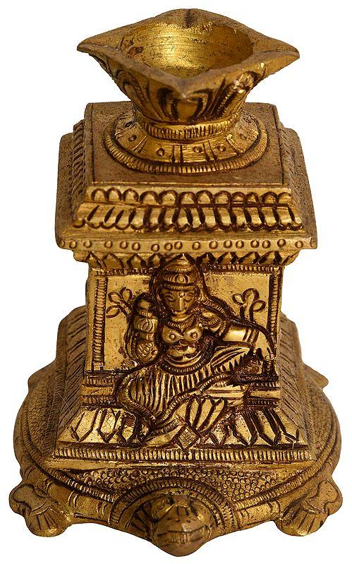 Goddess Lakshmi Four Wick Lamp on Tortoise